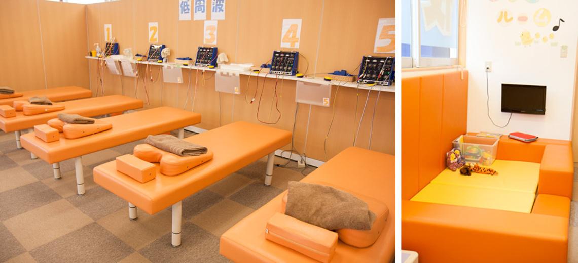 施術室は常にキレイに整理整頓。キッズスペースも完備
